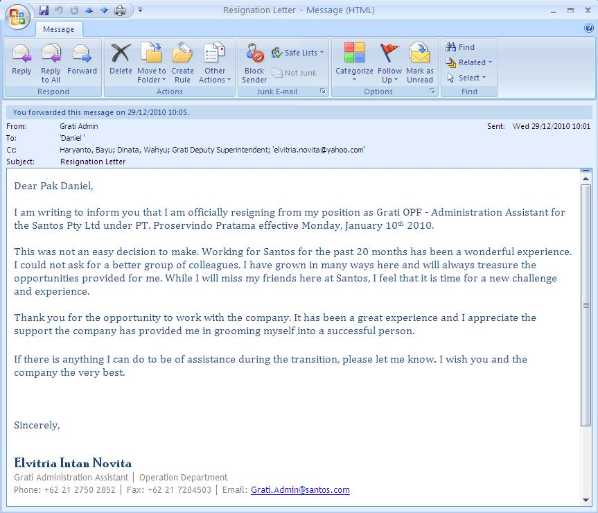 resignation letter email 3744 resignation letter example sending – Resignation Email